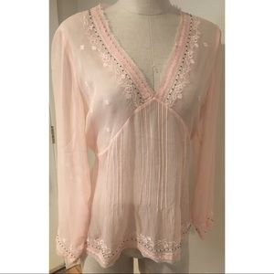 J Jill Embroidered pink Sheer Silk Blouse Shirt